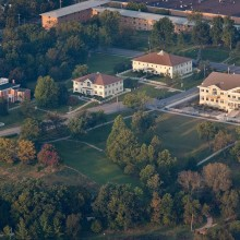 An aerial shot of the main campus buildings