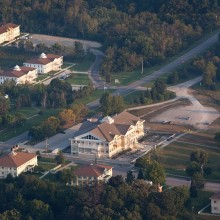 An aerial shot of the Argiro Student Center and Maharishi Peace Palaces
