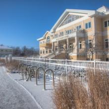 Outside the Argiro Student Center in winter