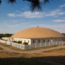 Outside the men's golden dome