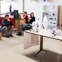 Students and teacher in an art class