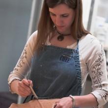 Student in an art class