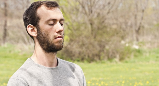 meditating-outside