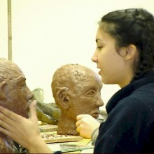 Student in a sculpture class