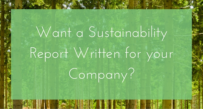 Want A Sustainability Report Written For your company?