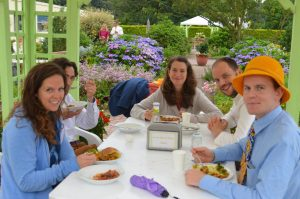 July 2014 ELI summit, Andrew and friends enjoying dinner in the garden at MERU