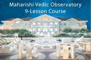 Maharishi Vedic Observatory, with MIU Argiro Student Center in the background, night sky with lots of stars overhead